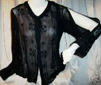 PAPILLON Sexy Beaded Jacket/Blouse Sz M