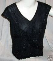 PAPILLON Heavily Beaded Occasion Top Sz L