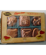 Vintage 1950s Set of 6 Copper Color MIRRO Individual Jello Molds In Original Box - $15.95