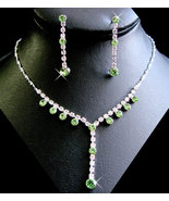 5 Sets Peridot Green Rhinestone Bridesmaid Jewe... - $94.99