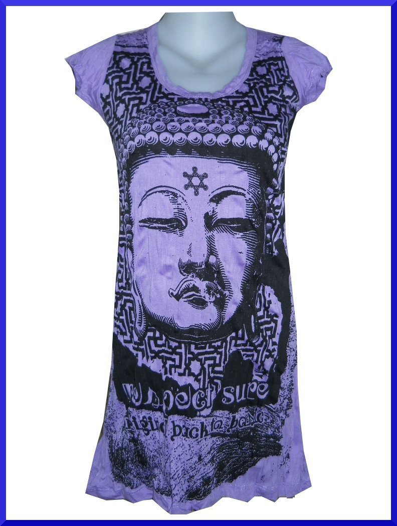 Lady Tank Top Long Buddha India Lotus Yoga Zen Goa  HOBO BOHO HIPPIE SURE RARE