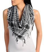 New Womens Houndstooth Black & White Plaid Fringed Scarf Fun Fashion  - $7.99
