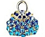 Handbag Purse Brooch Swarovski Crystal 18K Gold Plated