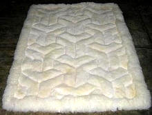 White alpaca fur rug,V design throw, 300 x 280 cm