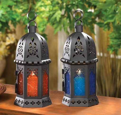 Candle Holders Moroccan Hanging Lanterns Blue and Amber Glass Party Lamps