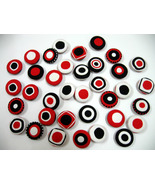 Fabric Buttons - Red, White, Black Dot Priint S... - $18.00