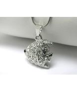 Crystal Stud Tropical Fish Charm Silver Pendant... - $10.00