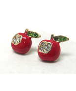 Crystal And Epoxy Deco Red Apple Gold Post Back... - $8.00