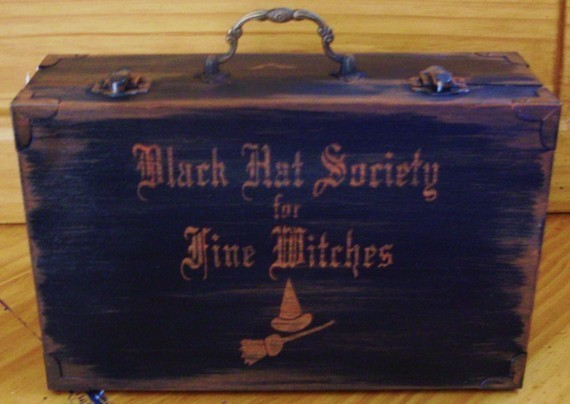Primitive Witch Black Hat Society Purse Box Witches halloween Wiccan Black Cats