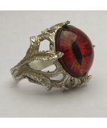 Gothic Dragon Eye Claw Sterling Ring in Red, Gr... - $190.00