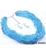 Blue teal fashion necklace and earring set 18