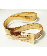 80s Vintage Glossy Gold Metal Mesh Belt Timeless Glam Disco 36 inch adjustable