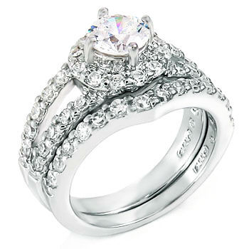 Stunning Split Ring w  Round CZ Sterling Silver Engagement Ring Set
