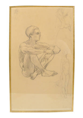 Jules Pascin Seated Young Male Signed Pencil Drawing