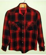 Vintage Plaid Heavy Flannel Work Shirt Large Gr... - $16.00