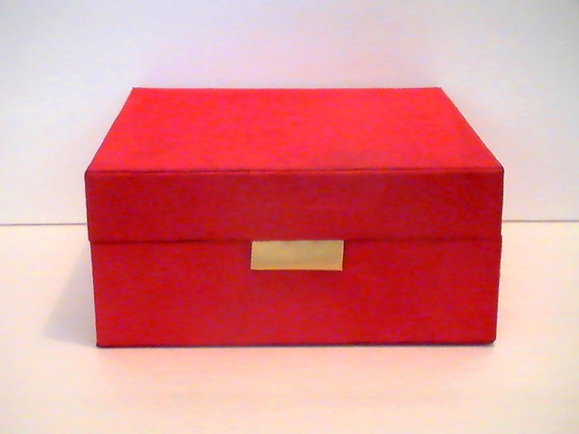 Estee Lauder Cosmetic  Jewelry Dresser Box Red Suede  Gold