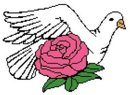 Dove and Rose Color Graph Afghan Pattern - $4.00