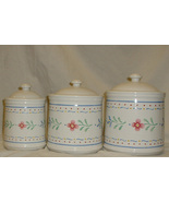 3 Piece Ceramic Canister Set With Lids Floral D... - $29.99