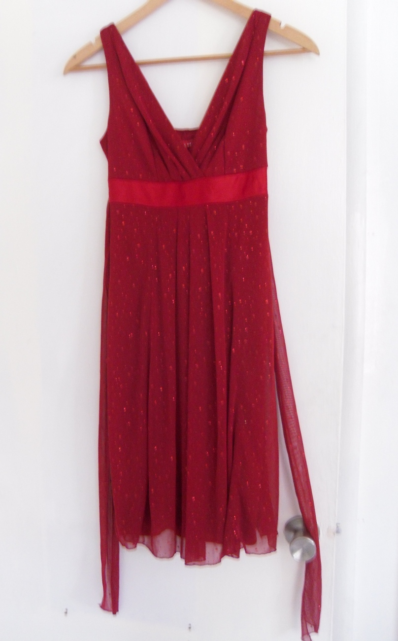 Ruby Rox Size Small Red Sparkle Shiny Sleeveless Knee Length Dress NEW