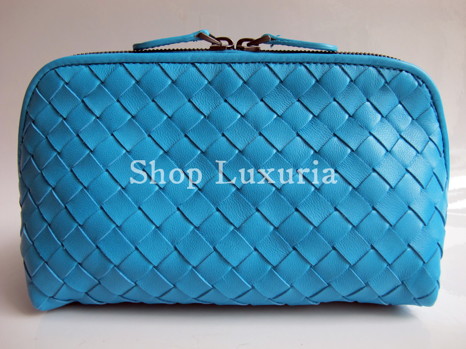 BOTTEGA VENETA Auth Intrecciato Nappa Leather Cosmetic Case - Turquoise - BNWT!