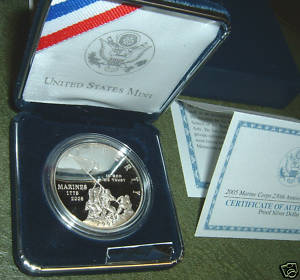 2005 Marine Corps 230th Anniversary Silver Proof Dollar REFC