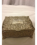 Silver Plated Regent Square Jewelry Box footed  - $40.00