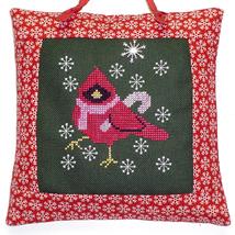 Candy Cane Cardinal with charm cross stitch cha... - $8.50