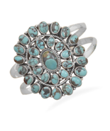 Sterling Silver Cuff Bracelet with Genuine Turq... - $449.95