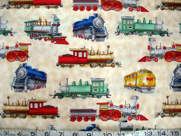 1 yard vintage trains locomotive engine beige quilt fabric for Train fabric by the yard