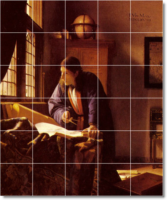Vermeer Men Bathroom Shower Mural Tile Design Renovation Int