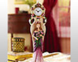 Rose Figurine Table Top Clock