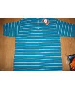 Men Steve Barry's Aqua blue white Stripe Polo A... - $16.99