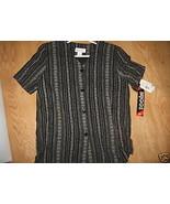 Ladies BRIGGS New York Black Flower Striped Sho... - $9.99