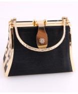 925B-GBK  Gold and Black Hard Frame Evening Bag - $20.00