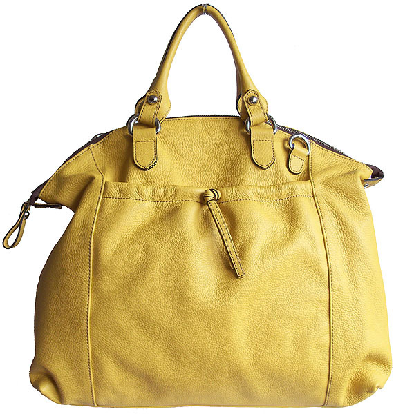 Carbotti Large Soft Slouchy Yellow Leather Satchel