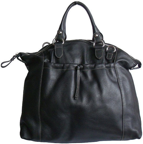 Carbotti Large Soft Slouchy Black Leather Satchel