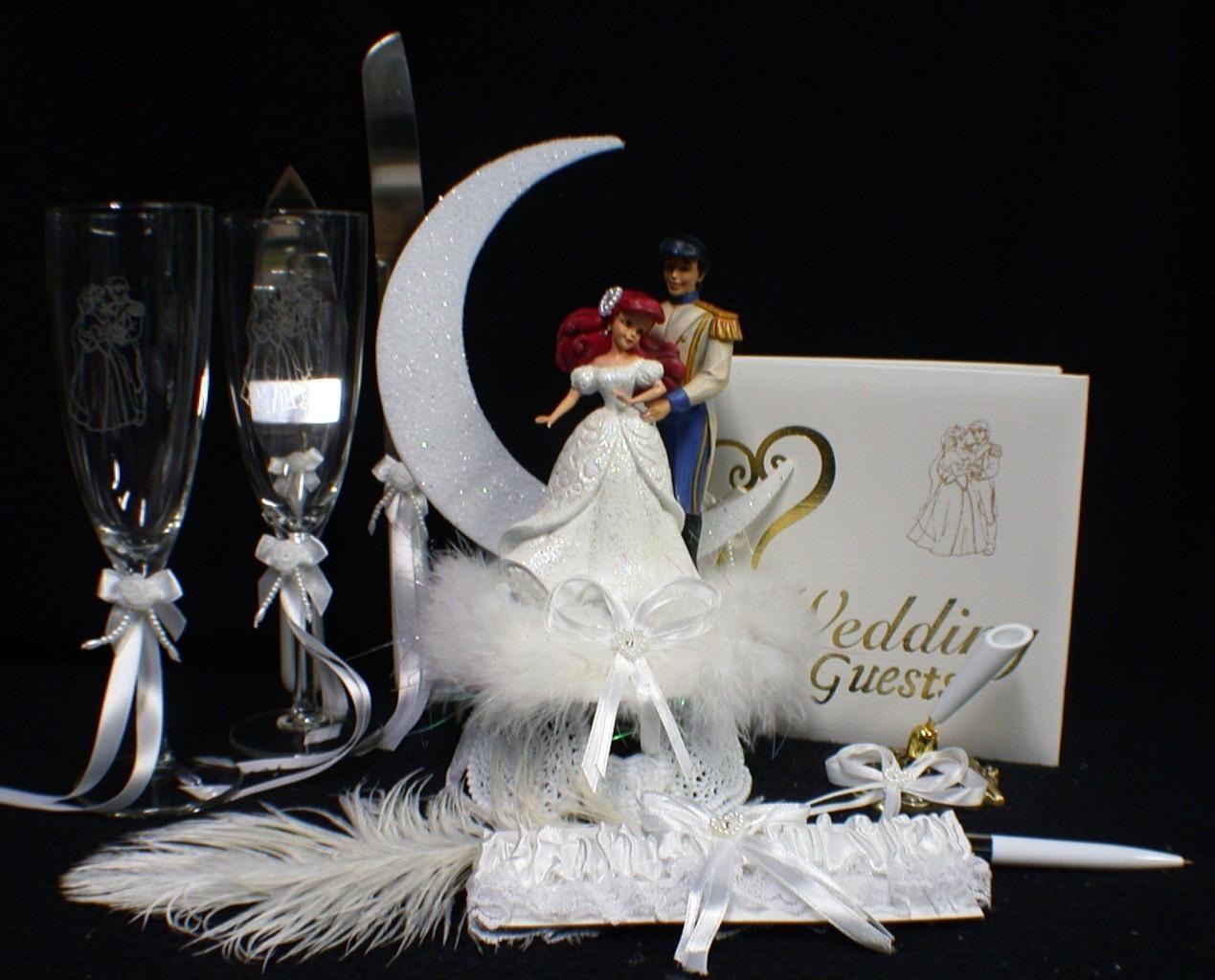 disney little mermaid wedding cake topper lot glasses knife server garter ariel wedding cake. Black Bedroom Furniture Sets. Home Design Ideas