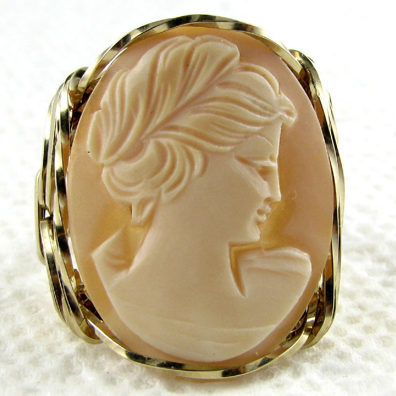 Hand Carved Shell Cameo Ring 14K Rolled Gold Jewelry