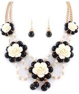 Black off-white flower bib necklace set gold to... - $21.77