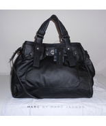 MARC JACOBS HANDBAG BLACK LEATHER TT LUCY SATCHEL TOTE TOTALLY TURNLOCK NWT $498