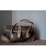 A Great Beige and Brown Faux Leather Tote - bro... - $25.99