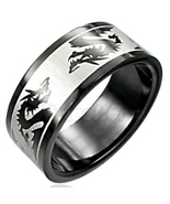 Black Stainless Steel Dragon Ring SSR605 Sz 10.5 - $7.99