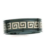 SSR08 Black Titanium Greek Key Ring  - $12.99