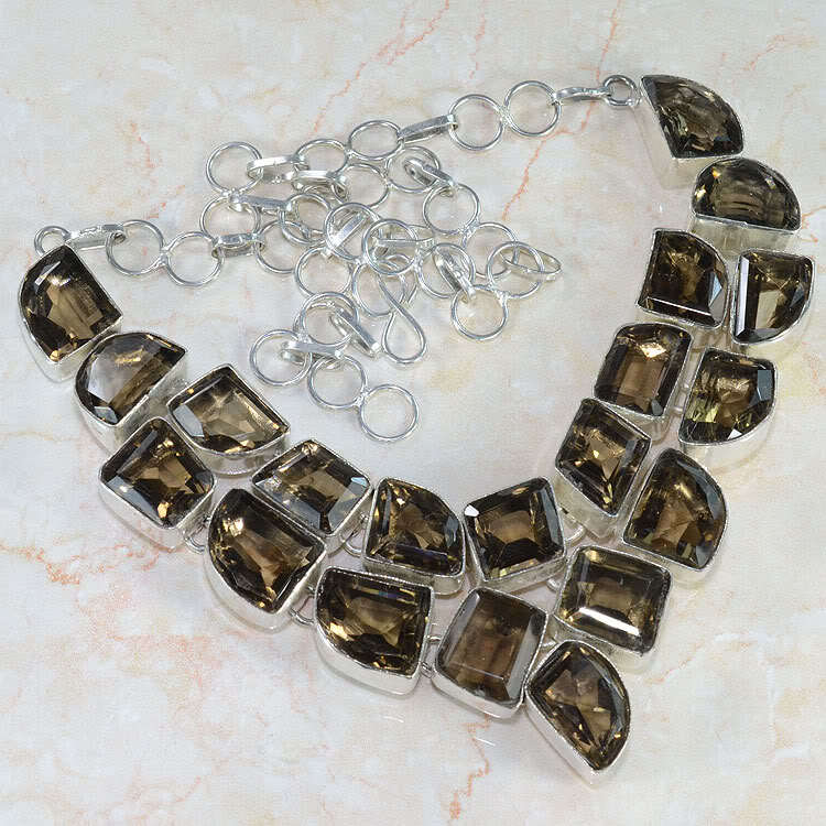 Gigantic Cut Smoky Quartz Silver Necklace 21""