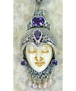 Hand Carved Goddess with Purple Amethyst Sterli... - $121.55