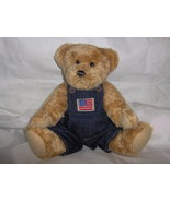 Teddy Bear with Overalls That Has Flag On It - $5.99