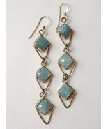 Aquamarine 3 Layer Earrings Sterling Silver Blu... - $175.00