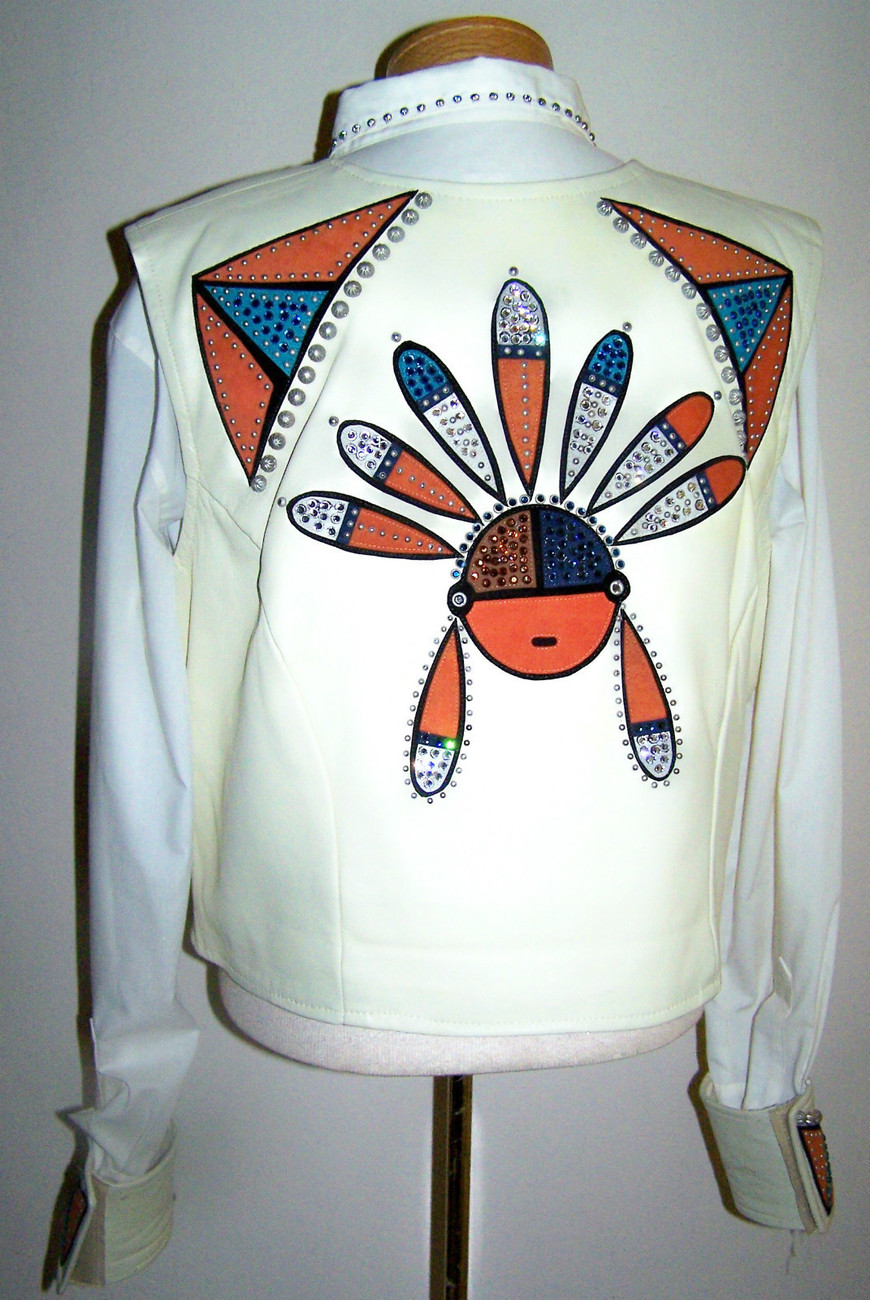 PAULA'S PLACE PLUS SIZE LEATHER KACHINA VEST & BLOUSE SIZE 16 EXTRA LARGE XL
