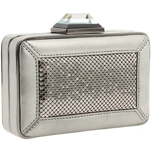 Franchi Valerie Pewter Box-Style Clutch, Evening Bag