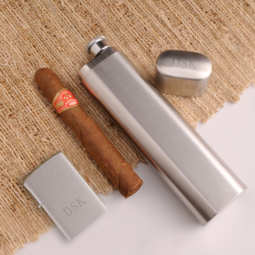 Buy cigars & pipes gift baskets - Cigar Case Flask and Zippo lighter- Free Personalization